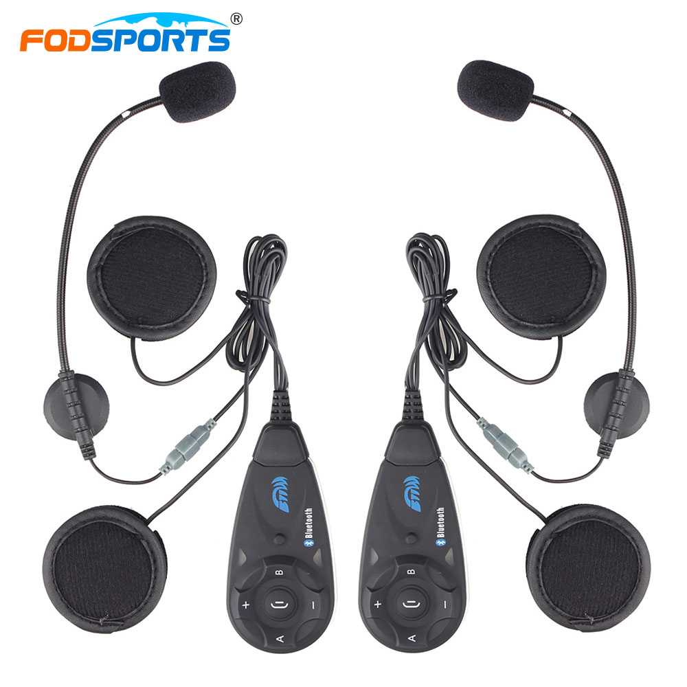 Fodsports 2 pc V5 5 Riders motorcycle bluetooth helmet intercom motorbike interphone headset  Wireless Communication waterproof motorcycle helmet bluetooth headset communication systems for motorbike aug4 professional factory price drop shipping