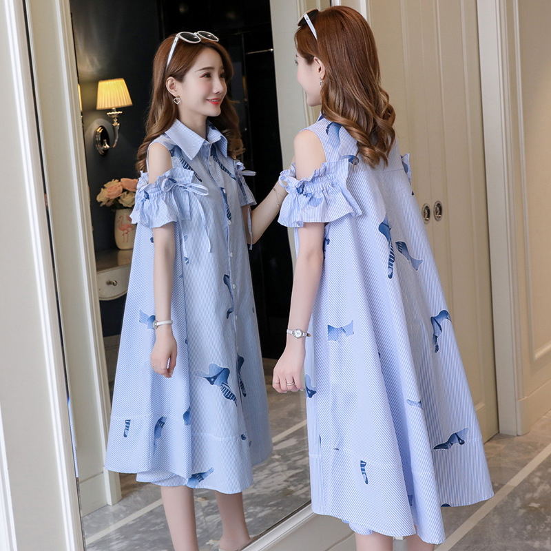 2019 Strapless Shirt Skirt Maternity Breastfeeding Dresses Pregnant Women Clothes Pregnancy Dresses Vestidos Pregnancy Nursing
