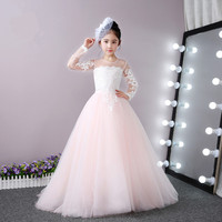 Actual Image Pink Tulle Long Sleeve Flower Girl Dress White Lace Princess First Communion Dress Girls Pageant Gown Any Size