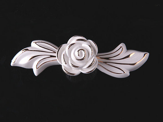 Drawer Pulls Handles Knobs Cabinet Handles Door Handle French Cream White  Gold Silver Rose Flower Decorative