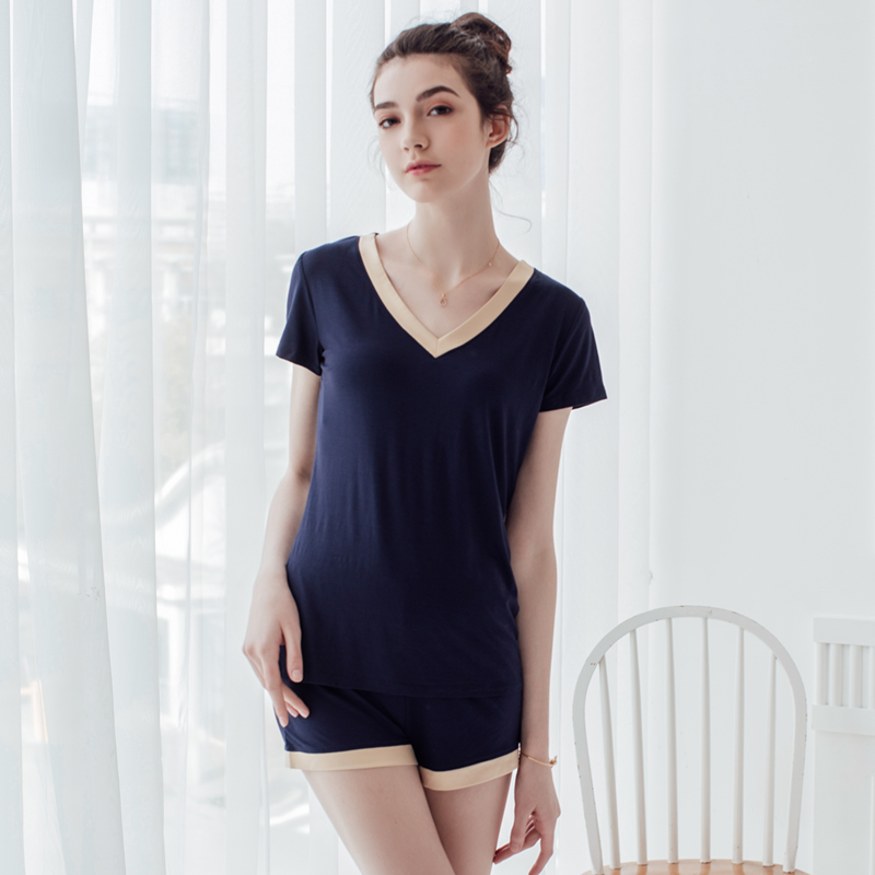 Women Summer Knitting Cotton Cellulose Fiber Short Sleeve Short Pants Top Pajama  Sets Sleepwear Home Wear 8ef221f8b