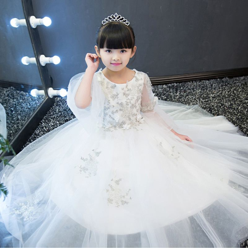 Kids Girls Flare sleeves Embroidery Flower Tulle Princess Dress Teenagers Evening Formal For Wedding Birthday Party Vestidos Q79