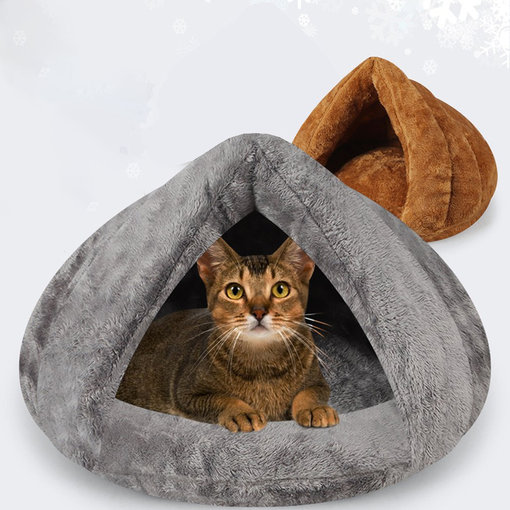 Warm Cat Sleeping Bags Pet Beds Half Cover Winter Nest House Cats Bed For Small Pets Cat Mat Bed Kennel House in Cat Beds Mats from Home Garden