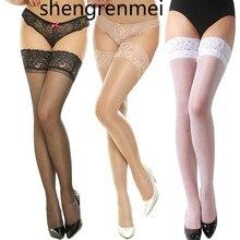 Shengrenmei Новые Сексуальные женские нескользящие эластичные шелковые чулки высотой до бедра женские длинные чулки Топ кружевной узор случайный