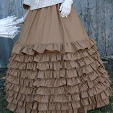 Горячая Распродажа, однотонная мода, микрофибра, длина до пола, бальное платье, викторианские юбки, длинная гофрированная юбка