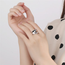 Silvology 925 Sterling Silver Irregular Glossy Wide Rings Advanced Luxurious Fashionable Female Workplace Jewelry