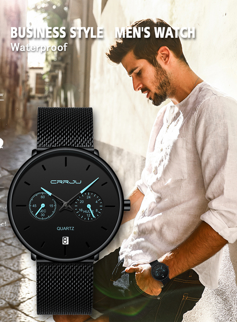 Mens Watches CRRJU Full Steel Casual Waterproof Watch 4