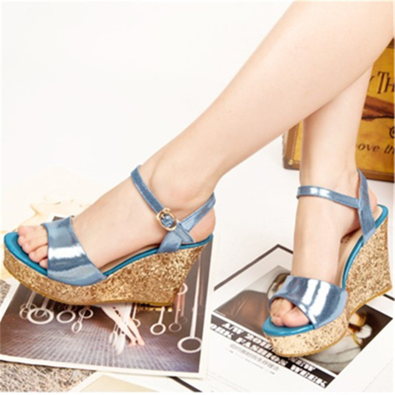 ФОТО 2016 high-heeled open toe wedges female sandals small yards 3031 32 33 plus size 40 41 42 43