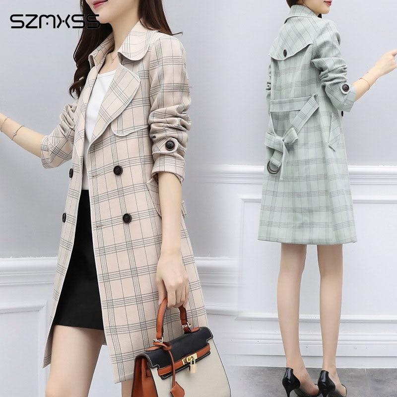 2018 Autumn New OL coats&Jackets Korean High Quality Plaid Jacket Lapel Long Sleeve Straight windbreaker