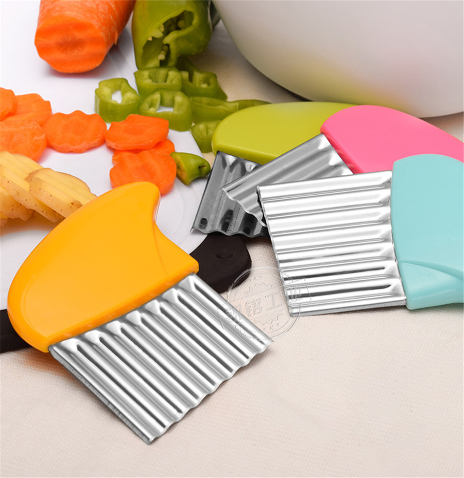 Stainless Steel Potato Chips Making Peeler Cutter Vegetable Kitchen Knives Fruit Tool Knife Accessories Wavy Cutter