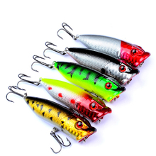 5 pc Fishing Baits Colors Popper Bait 2.9 -7.3 cm / 0.39 oz-11g With 2 High carbon steel 6 # fishing hook tackl