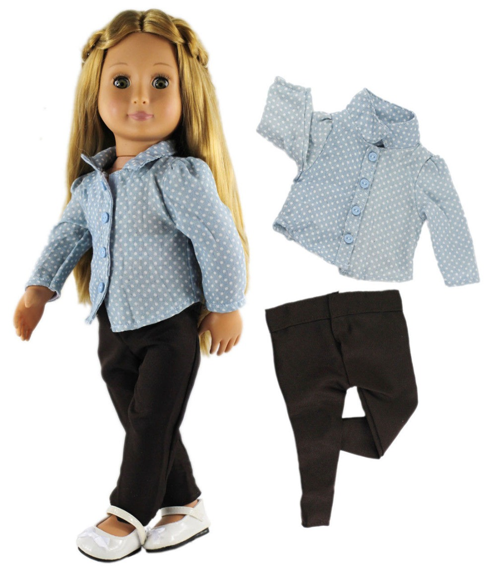 1 Set Doll Clothes Top Pants For 18 Inch American Girl Doll Casual Clothes Outfit In Dolls