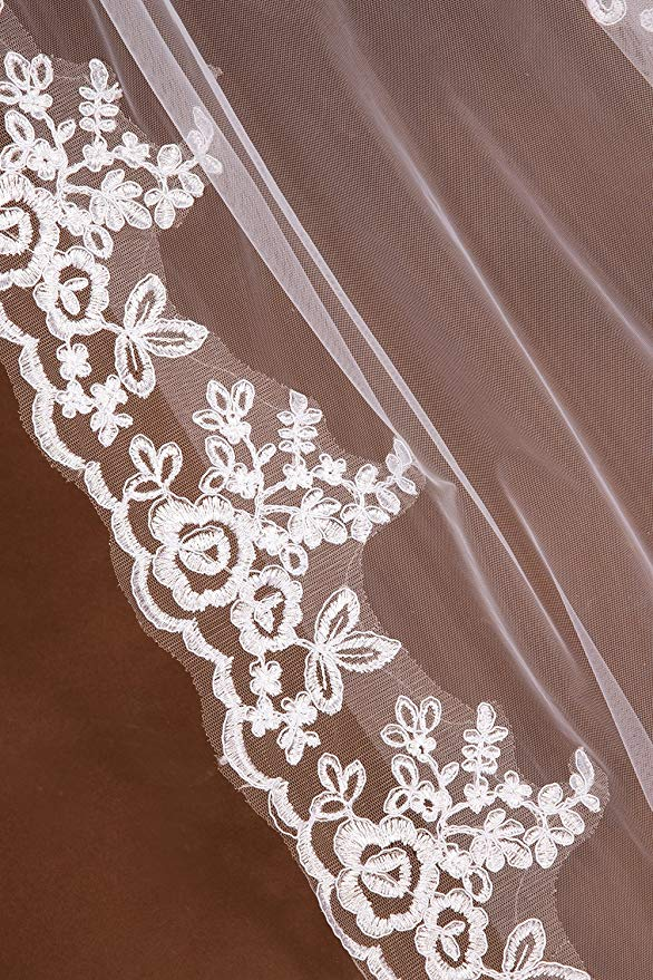 Купить с кэшбэком 2019 elegant White Ivory cathedral wedding veil lace edge bridal veil 3 m long trailing Wedding Accessories with Comb