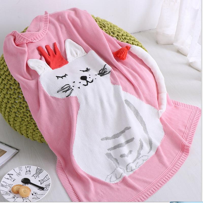 Cotton 3D cat blanket fox black white rabbit gray cartoon animal kintted childrens blue knee blandets throw on Sofa/Bed/Plane