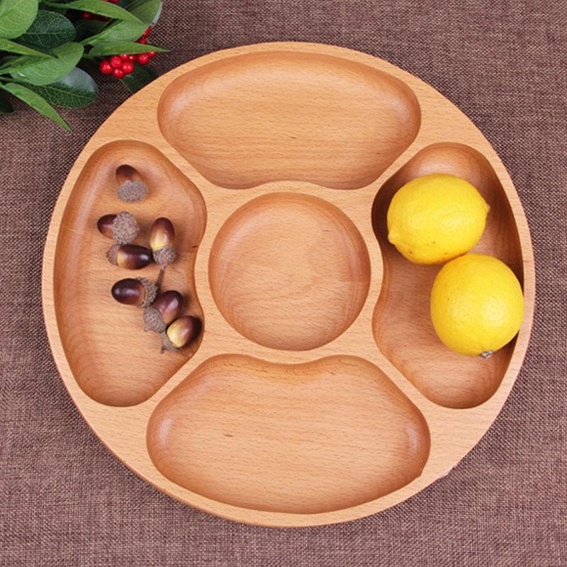 European wood lattice creative fruit original wooden household five fruit snacks beech thickened disc