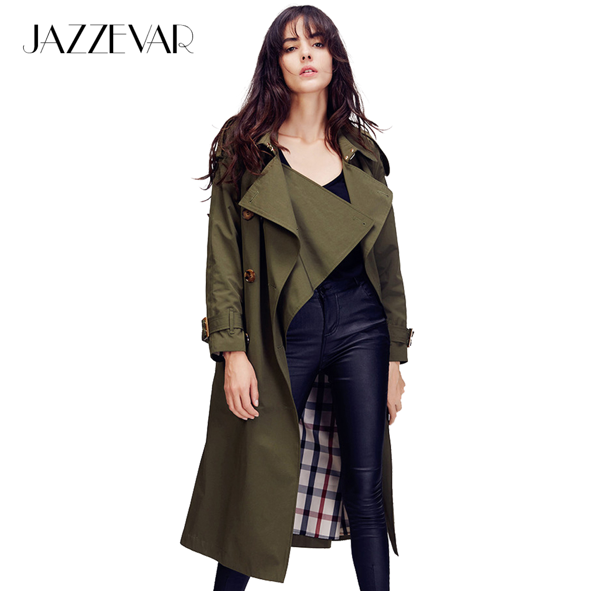 JAZZEVAR 2019 Autumn New High Fashion Brand Women's Double Breasted trench coat Wasserfall Collar outwear Loose Clothing