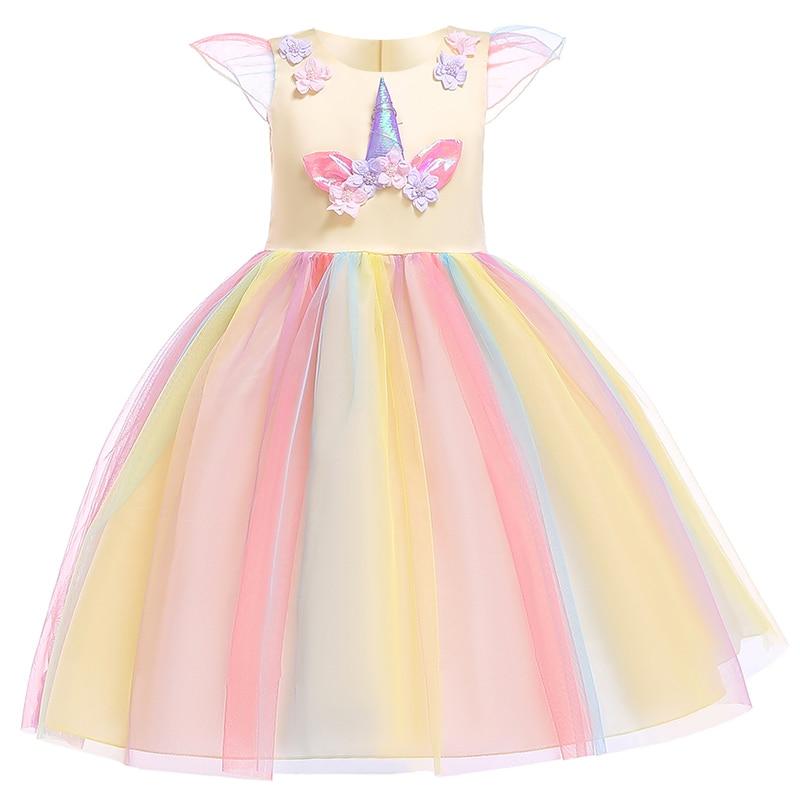 HTB1nUYku4YaK1RjSZFnq6y80pXaF Unicorn Dresses For Elsa Costume Carnival Christmas Kids Dresses For Girls Birthday Princess Dress Children Party Dress fantasia