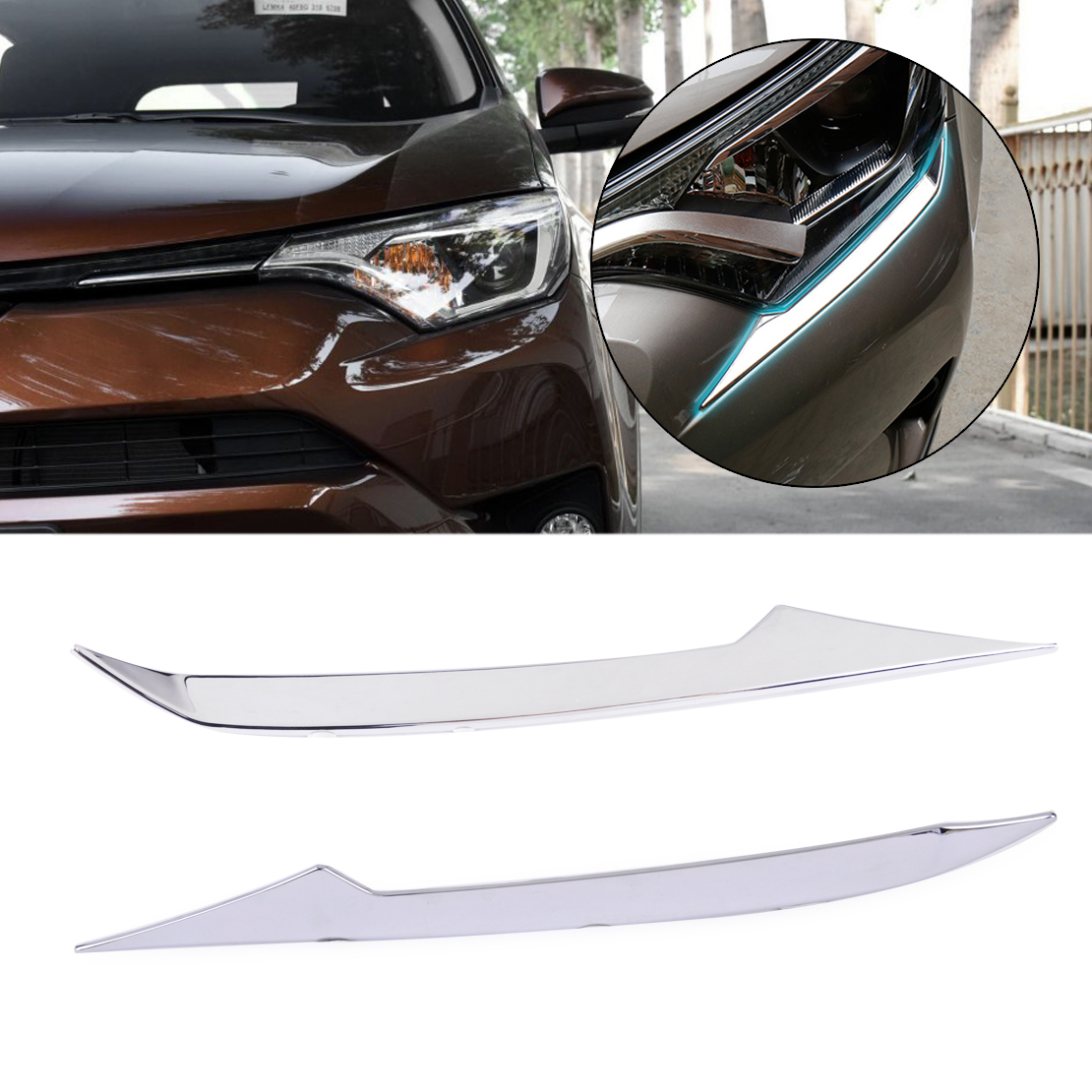 beler 1 Pair Silver ABS Plastic Chrome Plated Front Head Light Eyelid Trim Molding Fit for TOYOTA RAV4 2016-2017