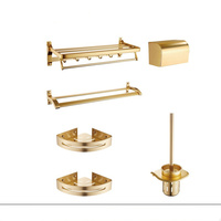 Gold Bathroom Accessories Set Towel Rack Bathroom Hardware Set Toilet Brush Holder Double Towel Holder Wall Mounted Corner Shelf