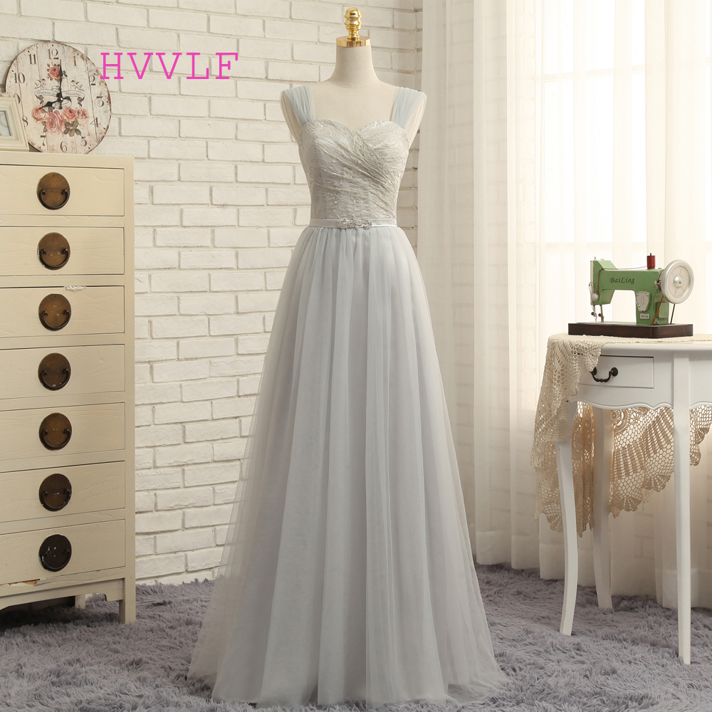 HVVLF 2019 Cheap   Bridesmaid     Dresses   Under 50 A-line Sweetheart Tulle Lace Silver Long Wedding Party   Dresses