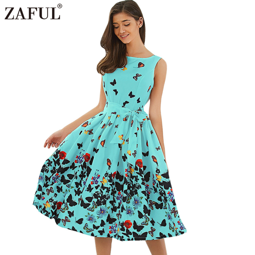 ZAFUL Pin up butterfly print vintage Summer dresses 2017 ...