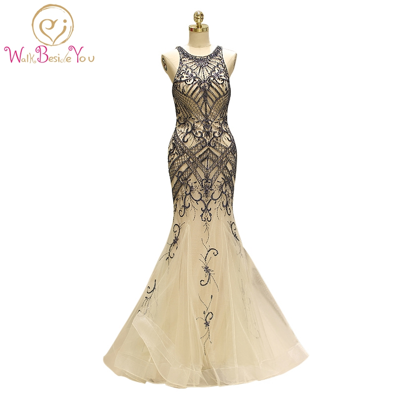 Champagne   Prom     Dresses   Beaded Bodice Walk Beside You Mermaid Sleeveless Graduacion Long Sweep Train Tulle O-neck Evening Gowns