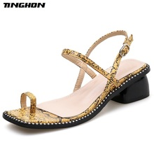 TINGHON Women Mature Square Toe Serpentine High Heels Sandals Gladiator Sexy Dance Office Dress Yellow White Size 35-40