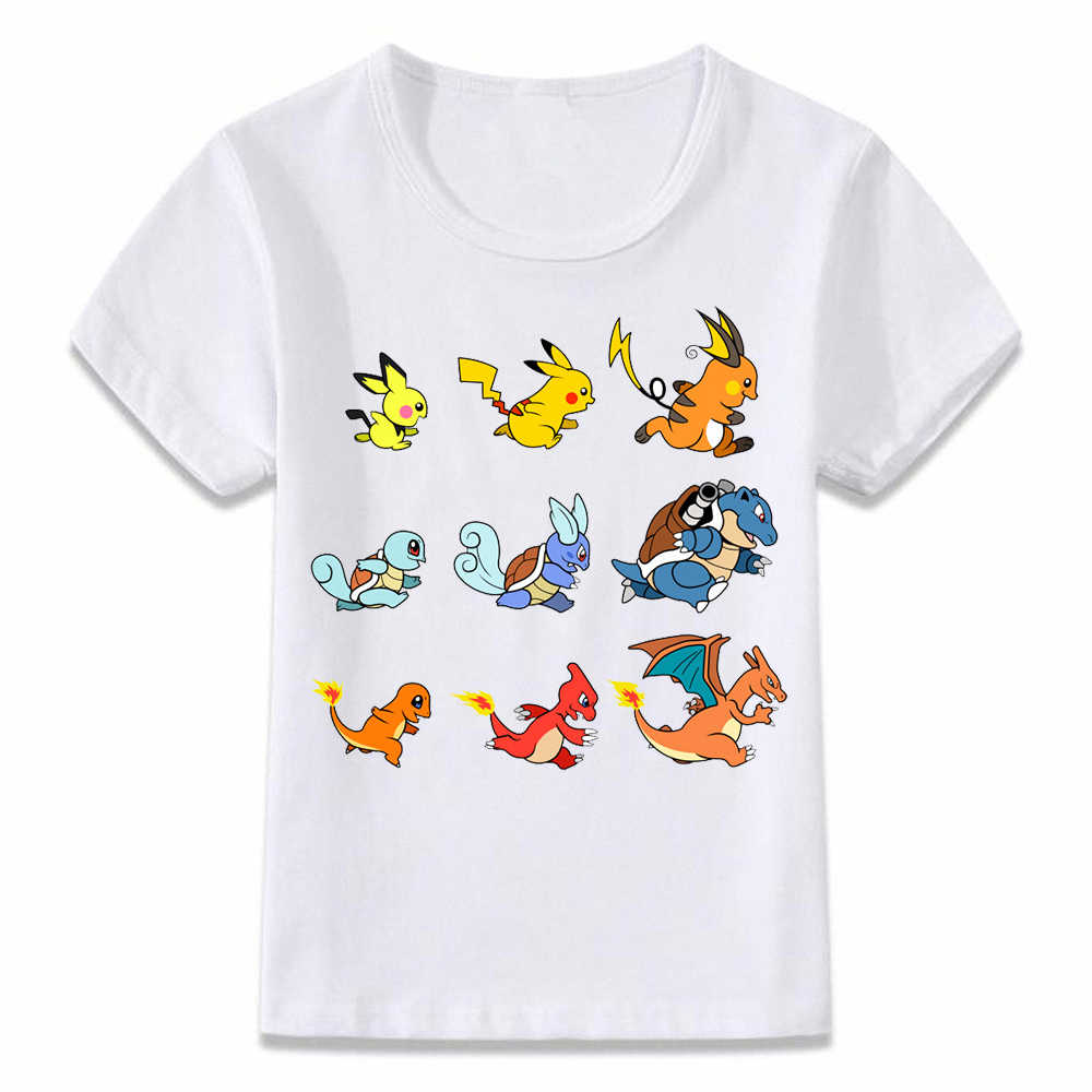 Kids Clothes T Shirt Pokemon Evolution Pikachu Charizard Squirtle Children T-shirt for Boys and Girls Toddler Shirts Tee oal176
