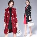 Мода Пальто Весна Осень женская заказунаша воротник Длинный тонкий Женский Пальто Gabardina Mujer Граффити печати Пальто 6225