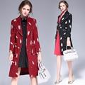 Moda Trinchera Abrigo de Primavera Otoño de la Mujer tailored collar Largo Abrigo Femenino delgado Gabardina Graffiti impresión de Mujer Abrigos 6225