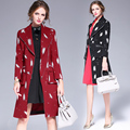 Moda tailored collar Trench Coat Primavera Outono das Mulheres Longo fino Casaco Feminino Gabardina Mujer Casacos de impressão de Graffiti 6225