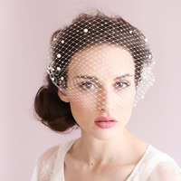 Tulle Bridal Hats with Pearls 2018 Wedding Hats For Brides Wedding Accessories Free Shipping