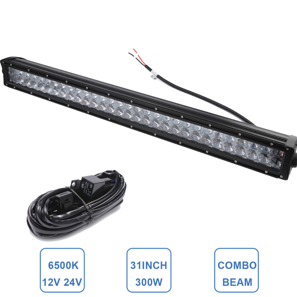 32 Inch 300W Offroad LED Light Bar Car Truck 4WD SUV ATV 4X4 UTV Auto Trailer UTE Boat Wagon Camper LED Work Lamp Bar 12V 24V