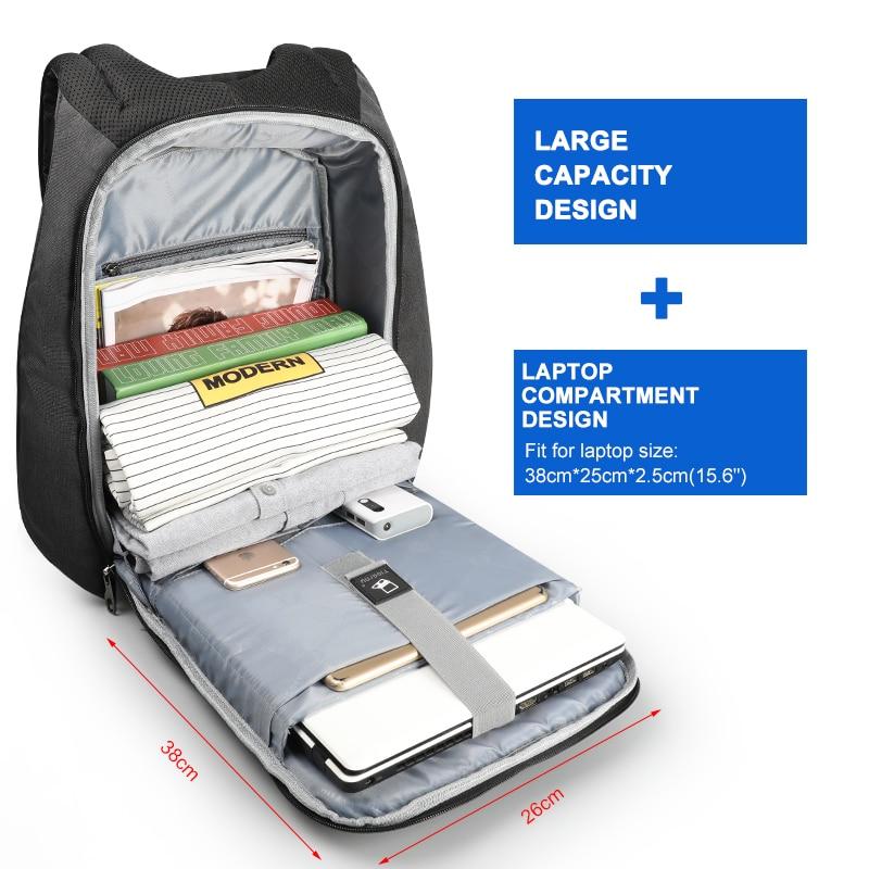 Anti-vol hydrofuge 15.6 pouces USB charge casual hommes sacs à dos sac d'école sac à dos femme mâle pour adolescents filles - 4