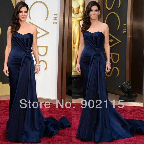 New Arrival Navy Satin Long Red Carpet Dresses Celebrity Inspired Gowns 2017 Oscar