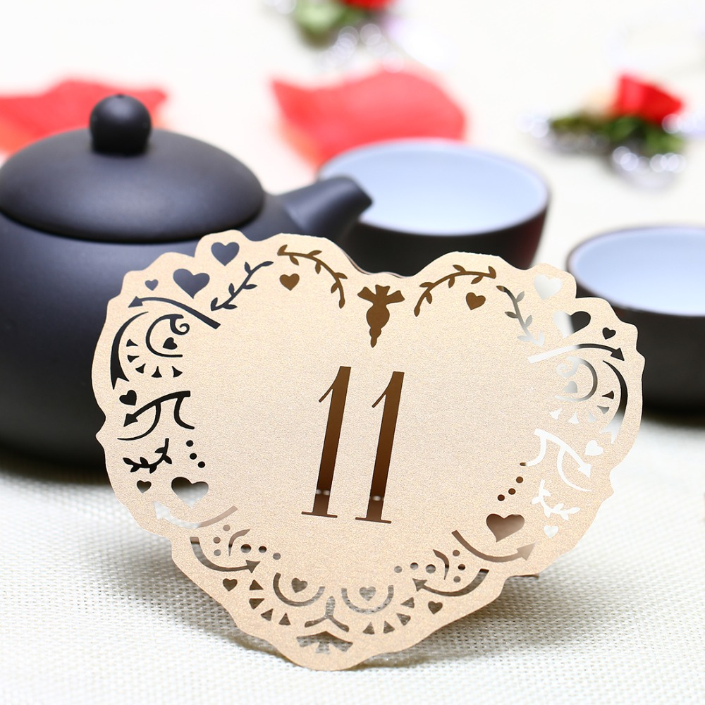 20pcs from 1 to 20 Beige Gold Hollow Lace Table Number Table Cards ...
