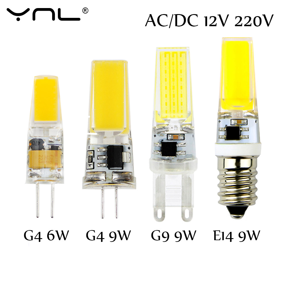 Bombillas LED Bulb G9 G4 E14 220V 3W 6W 9W Dimmable Lampada LED Lamp G4 AC DC 12V COB Lights Replace Halogen g4 led bulb