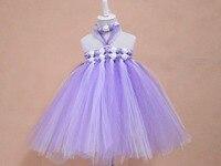 Romántico lavanda tutu dress con diadema niñas beach wedding party girls roseta niña vestidos de bautizo