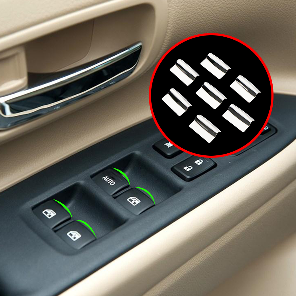7X Stainless Steel Window Lift Buttons Sequins For Mitsubishi Outlander 2007-12/ASX 2013-15/Pajero/Pajero Sport/LANCER-EX