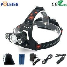 8000 Lumens LED Lanterna de Cabeça Farol T6 + 2 Luz Frontal Tocha XML-T6 xpe Lanternas À Prova D' Água Recarregável 18650 Da Bateria