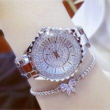 Feminino kobiety luksusowe marki zegarek 2019 diament kwarcowy srebrny złoty na rękę Ladies zegarki Rhinestone kobiet zegarek Reloj Mujer 2019