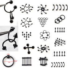 10Pcs/Lot Stainless Steel Black Curved Eyebrow Nose Lip Nipple Ears Rings Punk Unisex Body Piercing Jewelry Wholesale