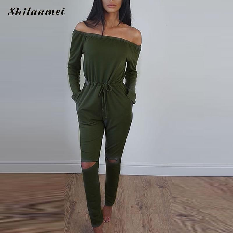 Ukraine long sleeve rompers women jumpsuit sexy punk hollow out off should jumpsuits for women long body feminino green overalls