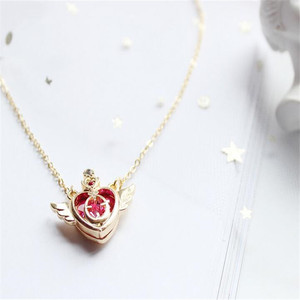 Anime Sailor Moon Loving Wand Crystal cosplay Pendant Necklace Girl accessories Cute props A776