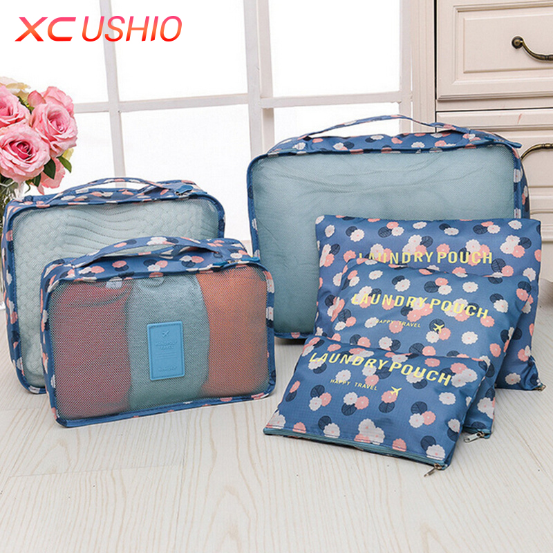 6 Pcs/set Travel Suitcase Closet Divider Container Storage Bag Set for Clothes Tidy Organizer Packing Cubes Laundry Bag