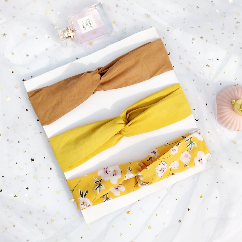 3pc Lady Knotted Headband Korea Style Flower Hair Accessories For Women Girls Turban Elastic Hairband Head Wrap WHS01