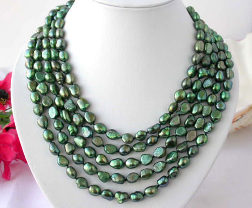 AAA baroque green FW pearl necklace Long 100
