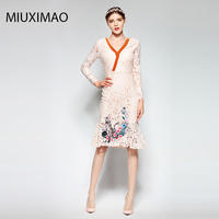 Famous brand Runaway 2017 Newest Spring Fashion Slim Elegant Lace Ebroidery Cat Flower Vintage Casual Long Fishtail Dress Women