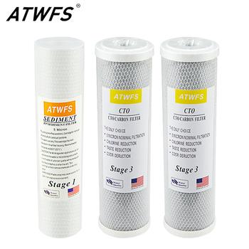 Zestaw filtrów wstępnych ATWFS o podwójnej pojemności do systemu kasety filtr odwróconej osmozy etap 1 2 i 3 tanie i dobre opinie 6 Miesięcy PP+carbon filter