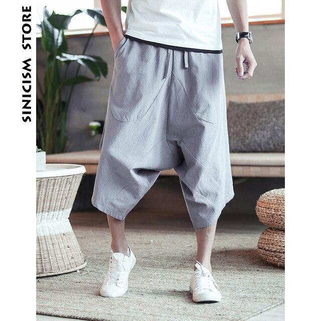 Sinicism 5XL Men's Wild Crotch Harem Pants Summer Baggy Pure Cotton Trousers Plus Size Male Wild-leg Loose Pants Drawstring 56
